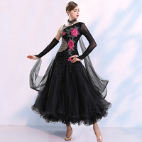 Professional Ballroom Dance Clothing Women Rhinestone Rose Embroidery Dress For Waltz Tango Competition Dance Clothing DWY2175