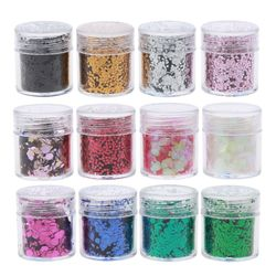 12 Colors Mixed Holographic Makeup Chunky Glitter Face Body Eye Hair Nail Epoxy Resin Festival Chunky Hexagons Sequins