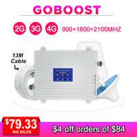 2G 3G 4G Tri banda repetidor de señal amplificador de señal celular GSM 3G 4G 900 1800 2100 amplificador de señal de teléfono móvil 4G antena Kit-