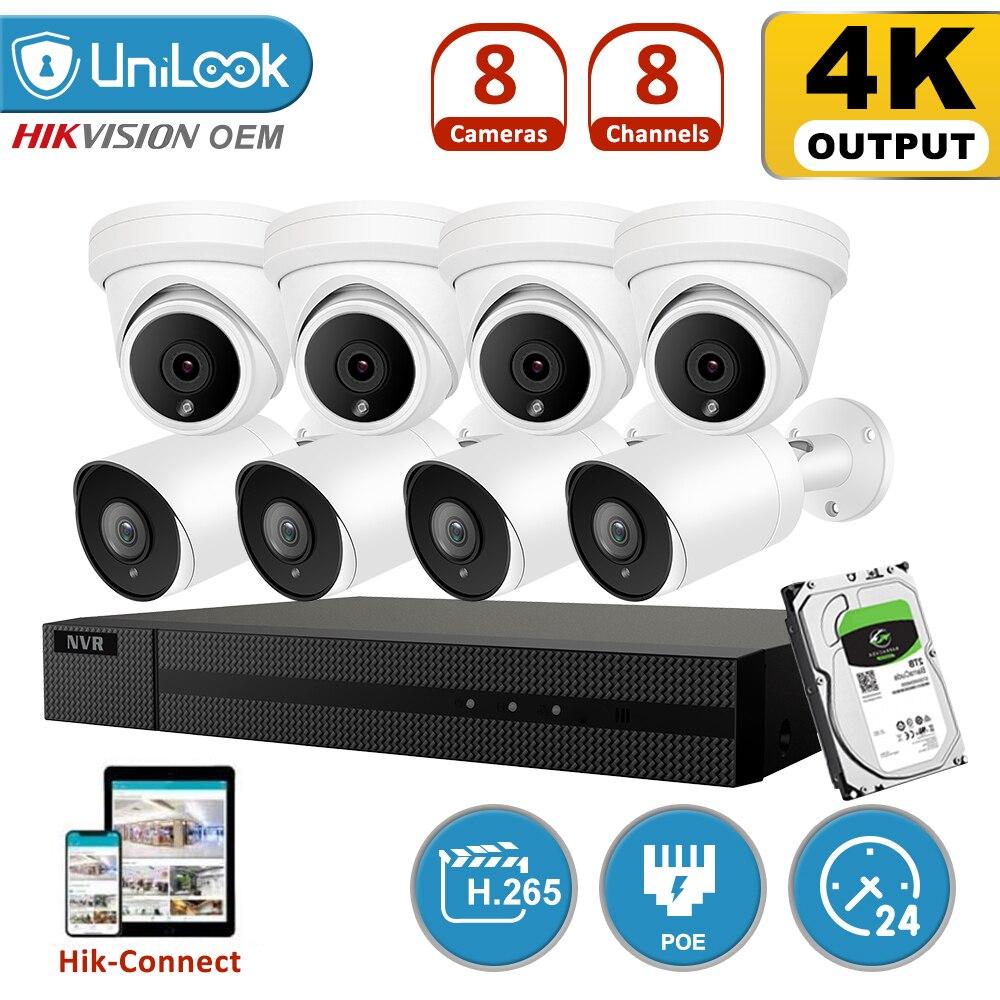 Unilook h.265 + 8ch 8mp 4 k poe nvr kit sistema de cctv ir ao ar livre áudio vídeo 4 k sistemas de segurança 2.8mm grande angular hik conectar