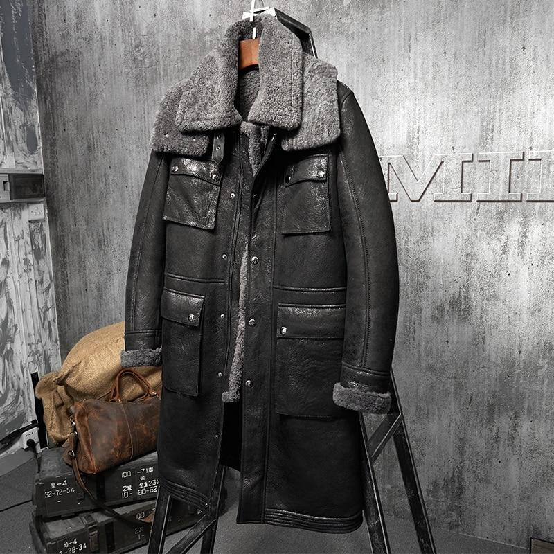 Long Witner Coat Men Sheep Shearing Genuine Leather Jacket Men Vintage Wool Jacket Real Fur Coat Mens Clothing PM-W-1723 YY801