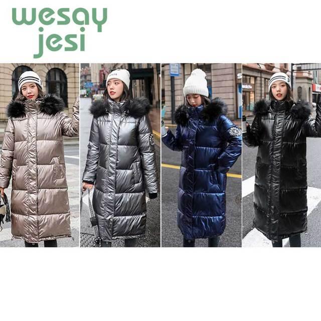 Shiny Winter jacket women 2019 casual Long Parka Coat Thick Cotton coat Big Fur Collar warm loose Glossy Hooded jacket Parkas