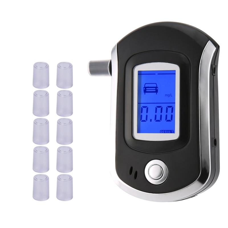 AT6000 Alcohol Tester With 11 Mouthpieces Professional Digital Breath  Breathalyzer With LCD Dispaly  Bafometro Alcoholimetro Df