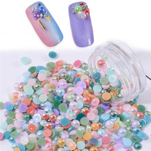 1 Box 4mm Nail Art Plastic Jelly Rhinestone Half Round Flat back For DIY Accessories