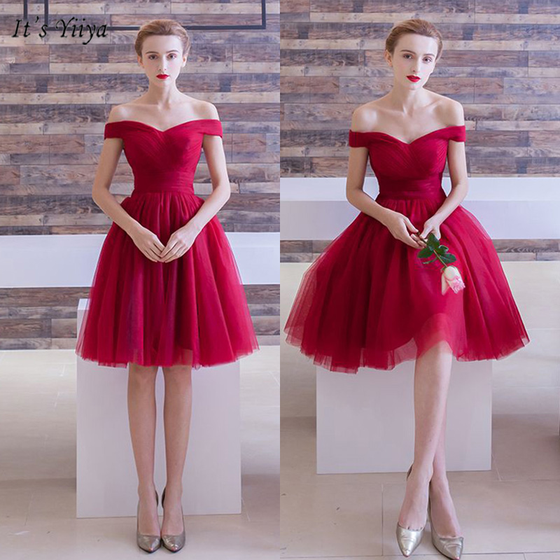 It's YiiYa   Cocktail     Dress   Off Shoulder Above Knee Women Party   Dresses   Burgundy Ball Gown Short Sleeve Robe   Cocktail   Gown E1117