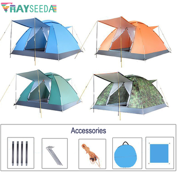Outdoor Automatic Family Camping Tent 3-4 Persons Portable Folding Camping Tent Waterproof Beach Hiking Tent Sun Protection Tent