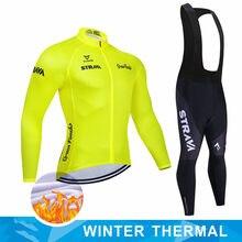 STRAVA-Maillot de Ciclismo para Hombre, equipo profesional de invierno, térmico y polar, conjunto de manga larga, para bicicleta de montaña, 2021