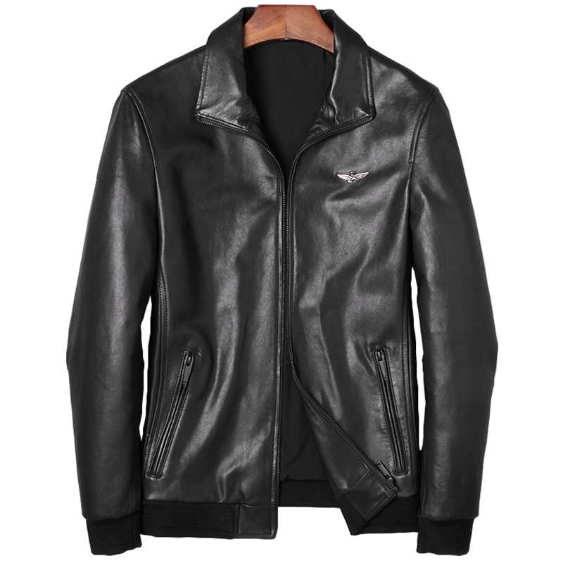 DK 2019 New Genuine Goat Leather Clothing Casual Business Formal Natural Leather Jacket Top Quality Leather Outwear