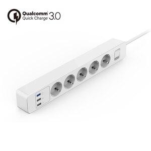 Image 2 - Power Strip Surge Protector 3/4/5 AC EUปลั๊กซ็อกเก็ตอะแดปเตอร์USB QC3.0 Fast/Rapid/quick Charger 1.5M Extension Cable