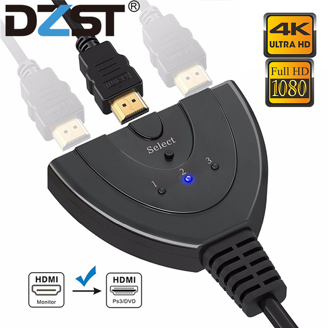 DZLST HDMI Splitter 4K*2K 3 Ports Mini Switcher Cable 1.4b 1080P for DVD HDTV Xbox PS3 PS4 3 in 1 out Port Hub HDMI Switch