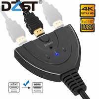 DZLST divisor HDMI 4K * 2K 3 puertos Mini Cable de conmutador 1.4b 1080P para DVD HDTV Xbox PS3 PS4 3 en 1 puerto Hub interruptor HDMI