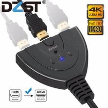 DZLST rozdzielacz HDMI 4K * 2K 3 porty Mini przełącznik kabel 1.4b 1080P dla DVD HDTV Xbox PS3 PS4 3 w 1 wyjście Port koncentratora przełącznik HDMI