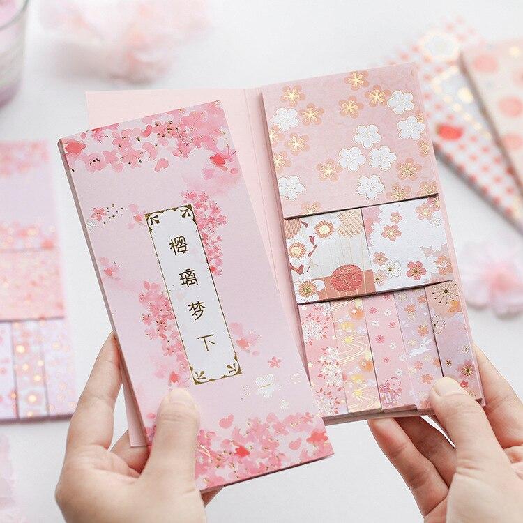 240pcs/set Kawaii Memo Pads Japanese Sakura Pink Cherry Fruit Strawberry Pink Notepad Diary Writing Notepad School Stationery