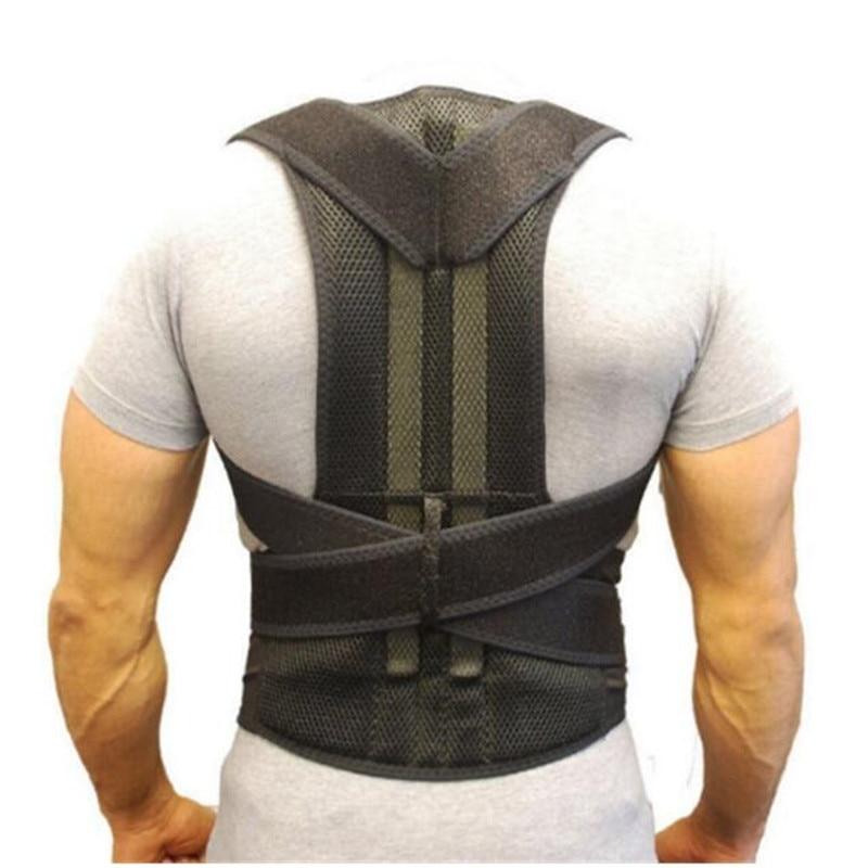 Adjustable Black Back Posture Corrector Shoulder Lumbar Spine Brace Support Belt Health Care for Men Women Unisex 4