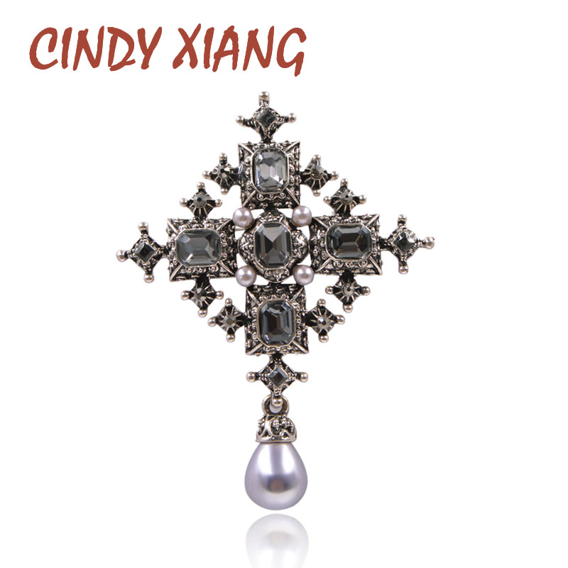 Cross-Brooches Cindy Xiang Large-Pins Crystal Cool-Design Baroque-Style Vintage Black-Color