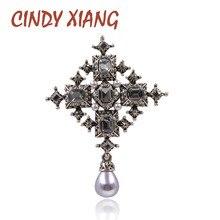 CINDY XIANG nuevo Cruz de cristal broches Unisex de las mujeres y de los hombres de moda Vintage broches grandes Color negro diseño de estilo barroco