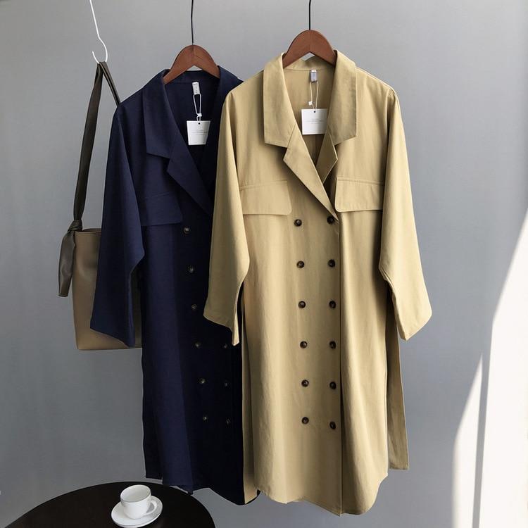 Mooirue Fall Women Windbreaker Cotton Single Breasted Slim Two Lapel Long Vintage Straight   Trench   Coat Khaki Blue Feminino Coat