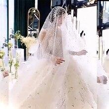New Fashion Soft Bridal Wedding Veil Beaded Pearls Long Tull