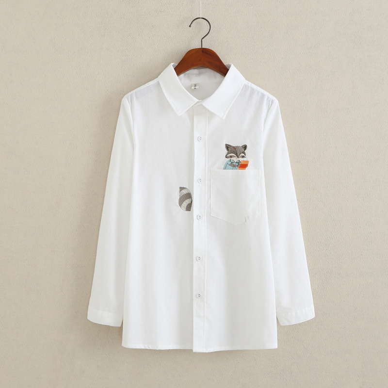 Fox Embroidery Women Loose Blouses Office Ladies White Shirt Turn-down Collar Button Down Shirts Elegant Tops Long Sleeve Shirts