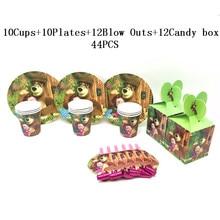masha 44Pcs Disney Masha and Bear Cartoon Kids Birthday Party Disposable Decorations Party Blow Outs Cups Plates Masha Candy Box Sets