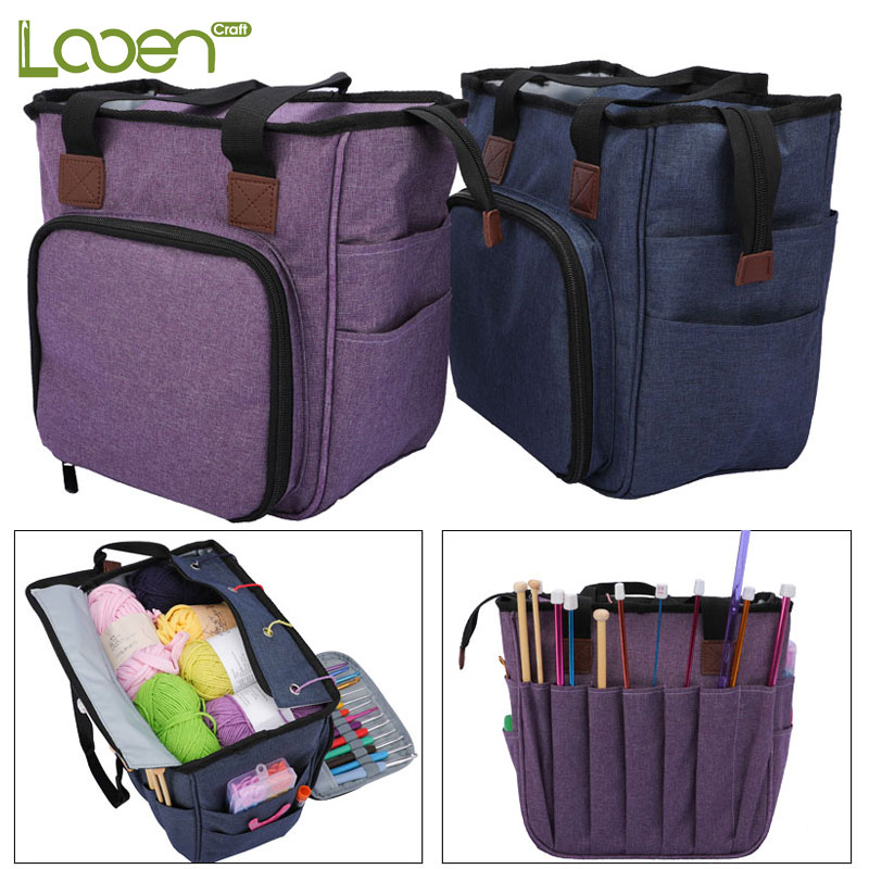 Looen Empty Knitting Storage Bag Crochet Bag For Knitting Needles And DIY Needle Arts Craft Yarn Bag Crochet Hook Sewing Tools