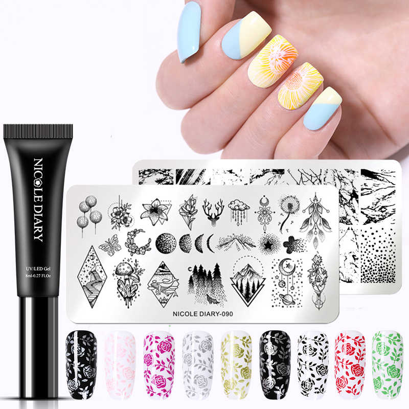 NICOLE journal 8ml or argent ongles estampage Gel vernis ensemble Permanent UV vernis lampe Led Gel laque timbre manucure Art apprêt