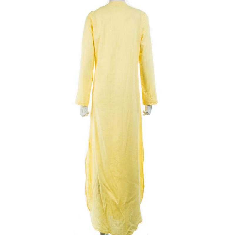 Women Gypsy Dresses Robe Long Sleeve V-neck Ethnic Boho Cotton Linen Summer Beach Maxi Dress 15