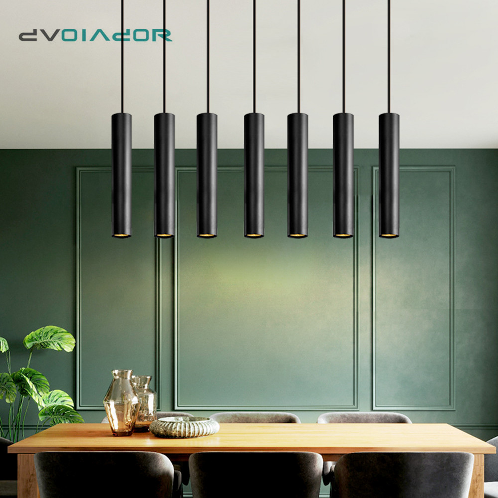 Modern Pendant Lights Long Tube Hanging Lights Aluminum High-grade Kitchen Fixtures Living Room Dining Room Bedroom Light