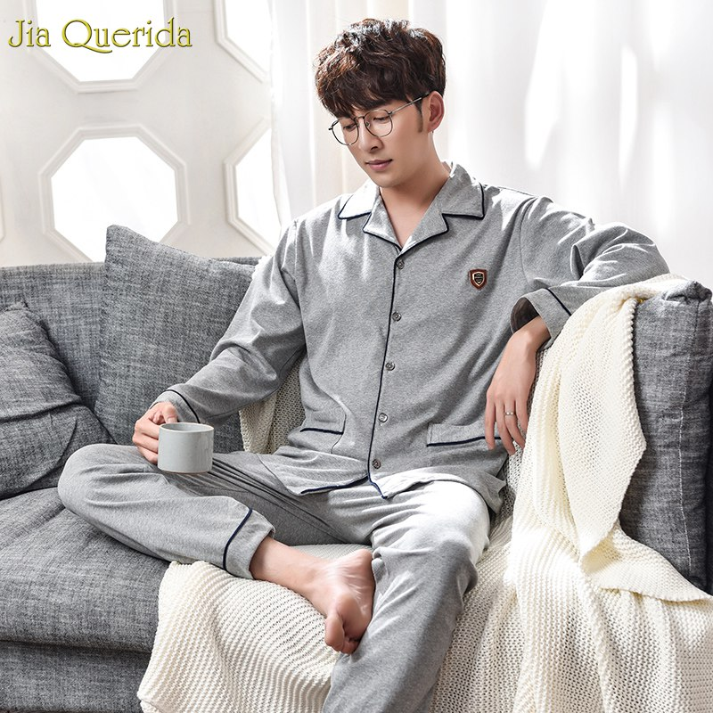 Pijama Men Winter Two Piece Set 100% Cotton Long Shirt Nightwear Long Sleeve Pants Mens Sleeping Home Suit Big Size Pyjamas Men