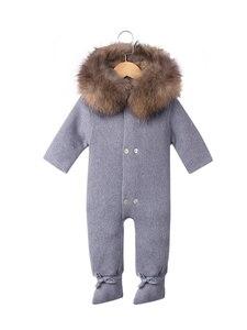 Image 5 - Combinaison de luxe avec col en fourrure de raton laveur, tricotée à capuche, vêtements à capuche pour bébés filles et garçons, barboteuses pour bébés, Vintage
