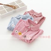 Childrenswear New Style Korean-style Autumn Clothing Bear Rabbit Duck Embroidered Three Button Decoration Shirt Dress Girls