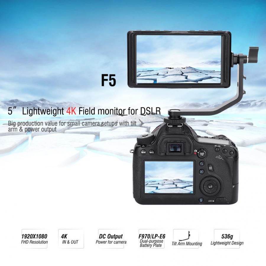 Feelworld 5 inch <font><b>IPS</b></font> 4K <font><b>HDMI</b></font> monitoring F5 Full HD <font><b>1920x1080</b></font> LCD DSLR Camera Field Video Monitor for Cameras DSLR photography image