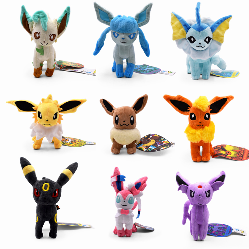 9 Styles Standing Eevee Vaporeon Glaceon Umbreon Flareon Jolteon Espeon Leafeon Sylveon Animal Stuffed Plush Quality Cartoon Toy