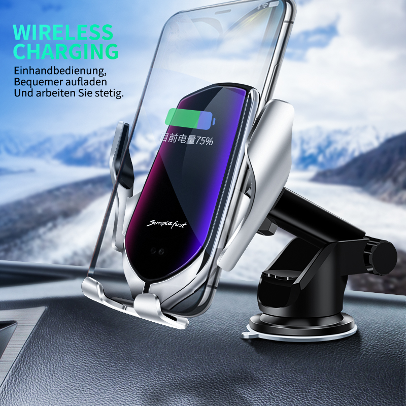 Automatic Clamping Car Phone Holder ForiPhone X Xs Max 8 Plus Qi Wireless Car Charger ForSamsung S10 Plus Fast Charging Holder