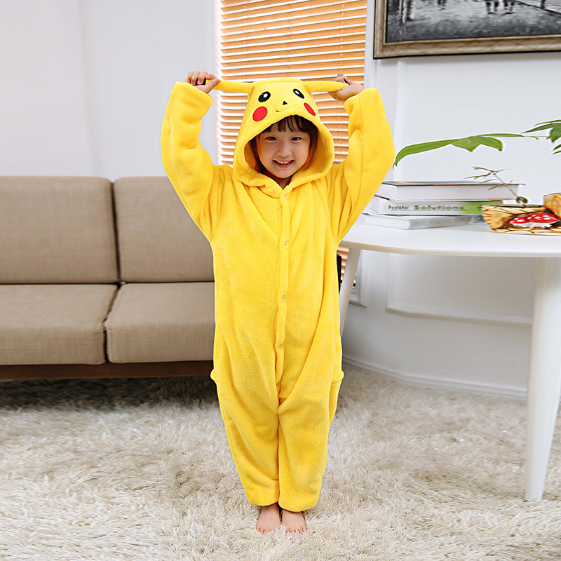 Children Pikachu Kigurumi Pajamas Sets Kids Anime Cosplay Costume Animal Sleepwear Onesie Jumpsuit