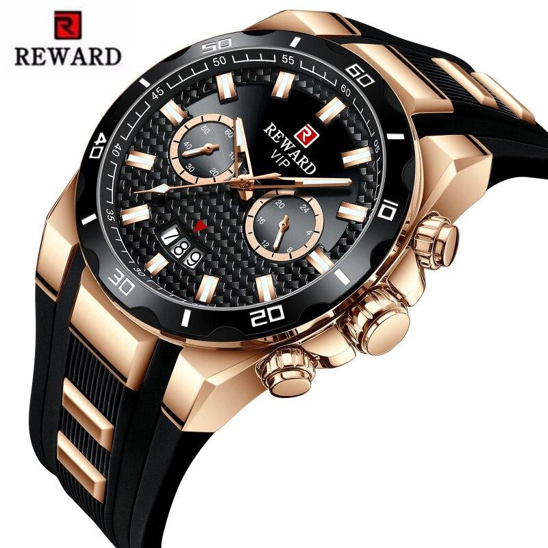 REWARD Mens Watches Top Brand Luxury Big Dial Military Quartz Watch Silicone Waterproof Sport Chronograph Watch Men Date Clock