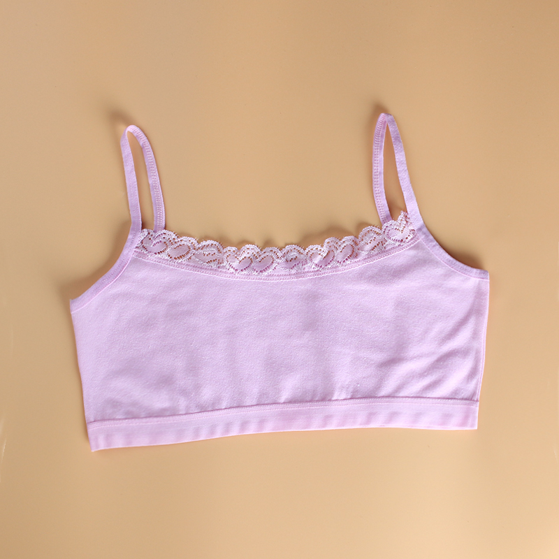 3Pcs/Lot Cotton Lace Bras for Kids Girls Sport Training Child Underwear Tops  8-14years 4