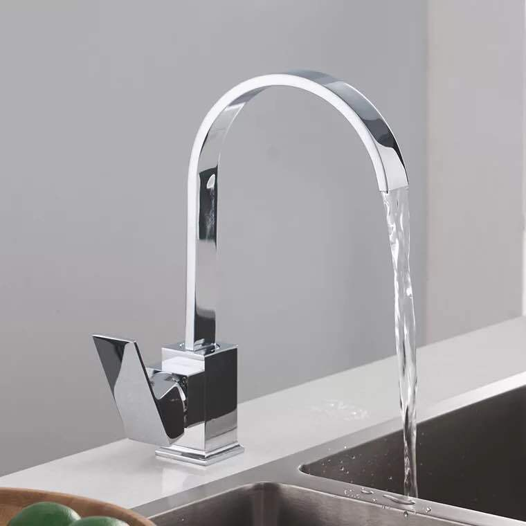Big Bend 360-Degree Rotatable Washbasin Faucet Modern Brass Square Kitchen Sink Cold Waterfall Faucet Manufacturers