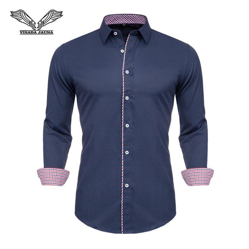 VISADA JAUNA  2019 Men Shirts Long Sleeve Fashion Solid 100% Cotton Business Causal Male Shirt Brand Slim Fit Clothes  N5126