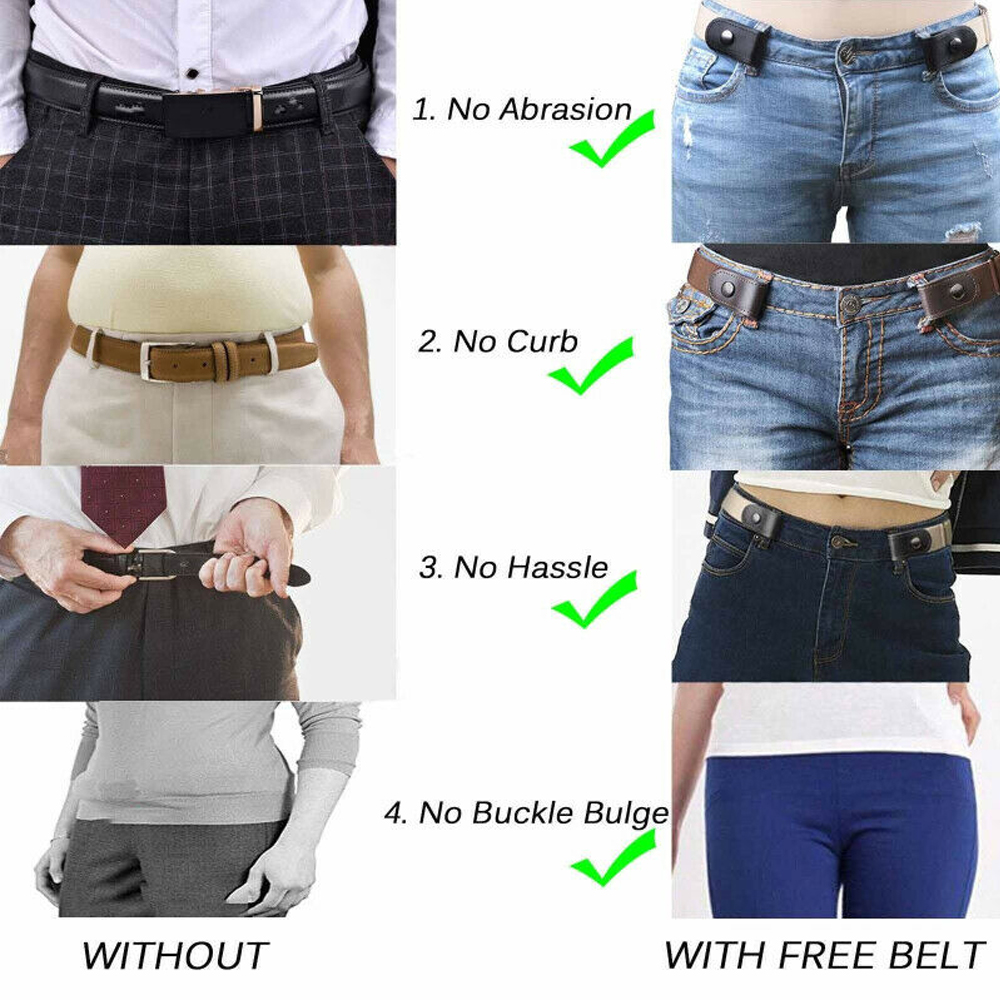Women's Buckle-Free Elastic Belts Invisible Belt for Jeans No Bulge Hassle Band Fashion Casual Adjustable Button Canvas Belts