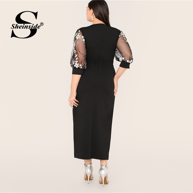Sheinside Plus Size Black Elegant Contrast Embroidery Mesh Dress Women 2019 Autumn 3/4 Sleeve Straight Dresses Ladies Maxi Dress 1