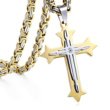 Cross Pendant Necklaces for Men Stainless Steel Gold Silver Black Byzantine Chain Necklace Hip Hop Male Jewelry Gift KP02(Hong Kong,China)