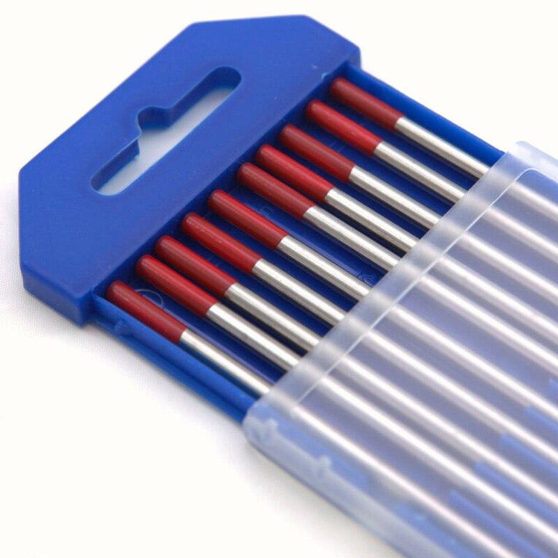 10 шт., красные электроды из вольфрамовой стали для сварки TIG, прутки, 150 мм, WT20, прочные циркониевые вольфрамовые электроды для домашних инстр...