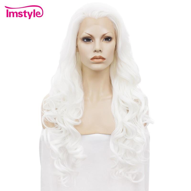 Imstyle frente do laço perucas onduladas longas perucas brancas para as mulheres resistente ao calor fibra sintética do laço peruca cabelo cosplay glueless 26 polegadas