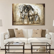 Black And White Running Horse Canvas Painting Art Animal Wall Poster Prints Retro Pictures For Living Room Home Decor