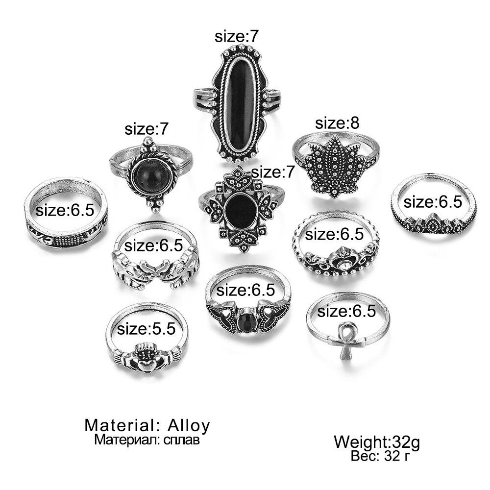 9 Design Boho Vintage Gold Star Midi Moon Rings Set For Women Opal Crystal Midi Finger