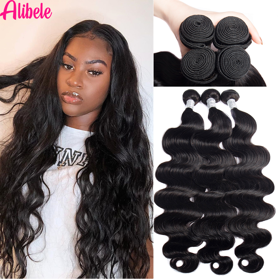 Alibele 28 30 inch Body Wave Hair Bundles Peruvian Body Wave Human Hair Bundles Long Hair Weaves Natural Black Color Hair 100g