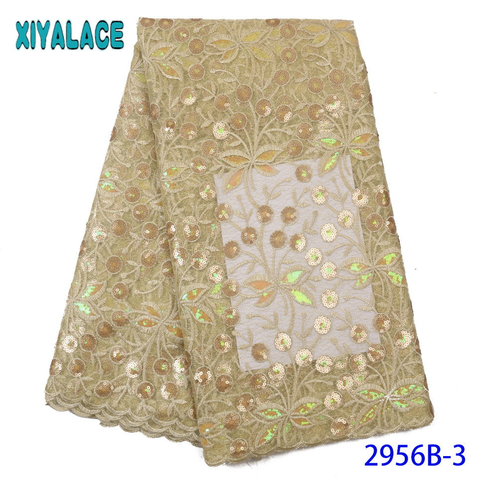 Latest Sequence Lace Fabric,Double Net Lace Fabric 2019,French Embroidery Laces For Wedding Party Dresses KS2956B-3