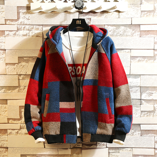 2019 Autumn Winter Fashion Hooded Jacket Coat Men's Plaid Color block Overcoat Male Patchwork Casual Jackets Large size 5XL