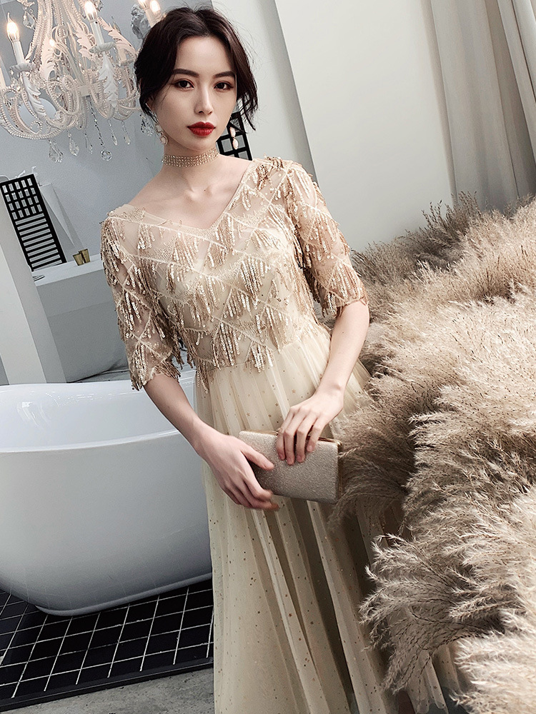 Evening Gown Women's 2019 Fashion Gold Sequin Banquet Elegant Slimming Elegant Debutante Dress
